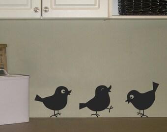 Cutie Birds Wall Decals - Set of THREE - Bird Stickers - Laundry Room Decal