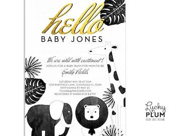 Safari Baby Shower Invitation / Animal Baby Shower Invitation / Black and Gold Invitation / Couples Shower Invitation / Elephant Invitation