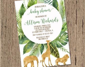 Safari baby shower invitation, jungle baby shower invitation, gender neutral tropical baby shower elephant giraffe lion printed or printable