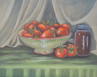 Reproduction of original painting of pretty compote, tomatoes and canning jar still life