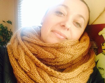 Golden Camel Infinity Scarf in pure wool