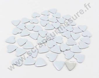 Fusible heart - white - 8mm - x 50pcs