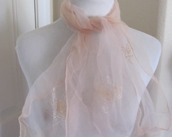 Pink Flocked Sheer Nylon Scarf Long - Affordable Scarves!!! Why Pay More! (13E)