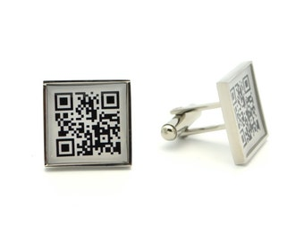 QR Code Cufflinks - Personalized Keepsake mens gifts for social media networking - square tech Cuff links