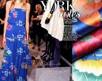 Modern Floral Print Blue Stretch Silk Satin Fabric Width 46 inch