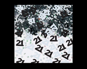 Age 21 table confetti, foil, silver and black, 21st birthday, party decorations, table decorations, UK seller, age confetti, age 21