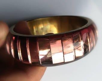 Vintage jewellery. Vintage bangle. Pink bangle. Chunky vintage bangle.