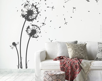Wall sticker flower + 22 flight seeds + 6 butterflies - dandelion wall sticker wall decal sticker for living room dining room decoration w311