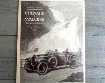 "Original 1930 Antique French car advertising  print illustration for Antique French Car ""CHENARD AND WALCKER."".  Ready to Frame."