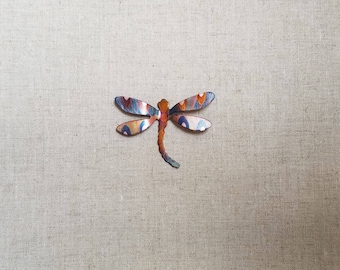 Flame painted copper Sm. Dragonfly, pin