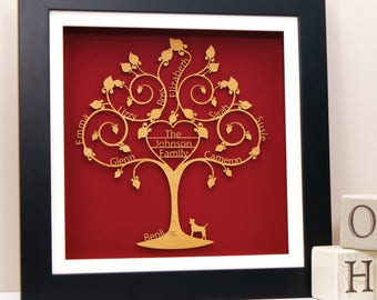 Personalised Family Heart Tree Wall Art