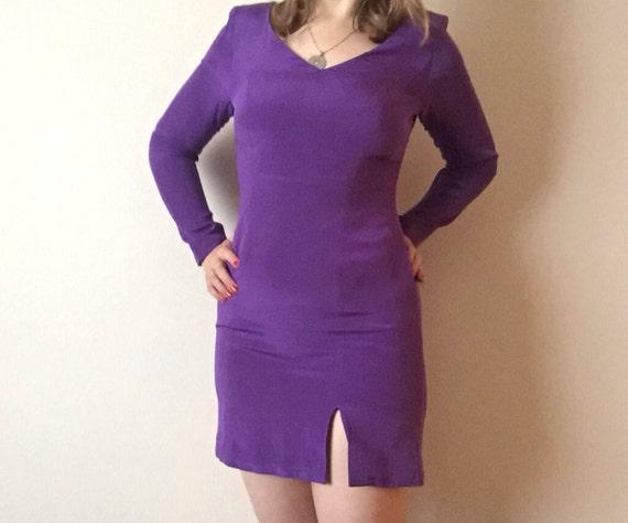 Purple Silk Mini | 90s vintage v neck long sleeve short slit hem dress small s hipster club kid