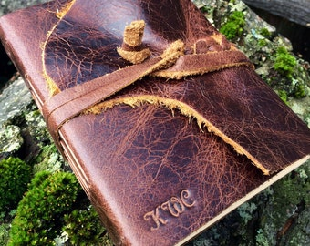 AUTHENTIC LEATHER JOURNAL Brown Hand Torn Personalized Rustic Leather Journal Sketchbook Notebook Wedding Guest Book Travel in Bomber Jacket