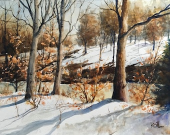Winter on the Raritan River Painting, Snow Landscape, Winter Watercolor Wall Art - Print or Original