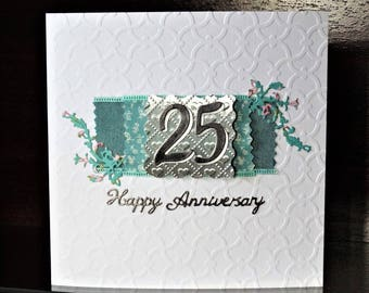 Silver anniversary card etsy