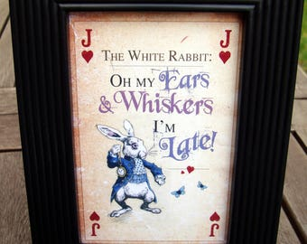 Black Framed Picture Alice in Wonderland Mr Rabbit - Oh My Ears and Whiskers I'm Late