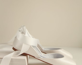 The Mary Janes in Pearl Ivory | Flat Wedding Ballet Flats Bridal Accessories | Standard Width | Bridal Shoes in Pearl Ivory | Ready To Ship