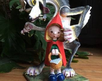 Little Red Riding Hood and the Wolf  detailed papier mache sculpture.