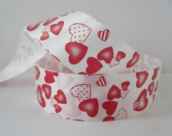 """Waterproof Valentines Day Ribbon Red Hearts Ribbon 1 1/4"""" inch wide Wreath Ribbon Center Piece Home Decor Floral Arrangement Basket lv013"""