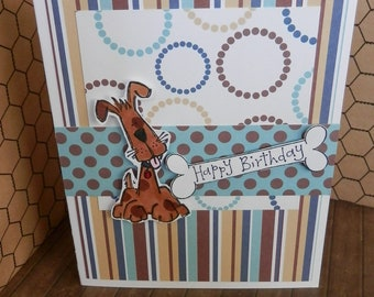 Birthday Card Handmade Greetings Dog Happy Birthday Browns And Blues