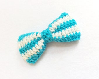 Crochet Dog Bow Tie, Dog Bow Tie, Dog Collar, Blue Bow Tie, Boy Dog Collar Accessories, Martingale Collar, Dog Mom Gift, Striped Bow Tie