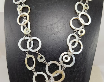 Vintage Linked Mother of Pearl Circle Design  Double Necklace