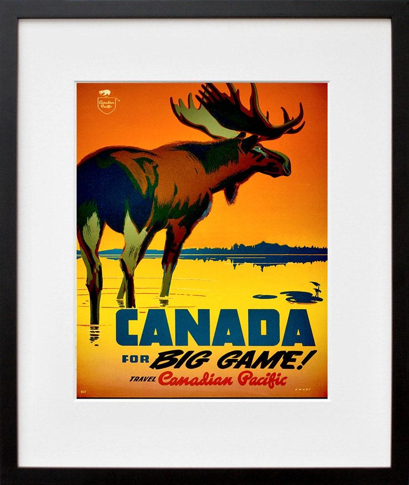 Canada Home Decor: Canada Art Print Hunting Travel Poster Canadian Home Decor