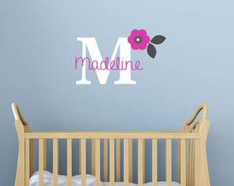 Baby Nursery Wall Decal Modern baby Decor Personalized Custom Baby gifts Cute Flower Wall decals