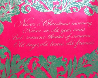 Vintage Christmas Gift Wrapping Paper - Floral Red Green and Gold Christmas Poem by Norcross - 1 Unused Full Sheet Christmas Gift Wrap