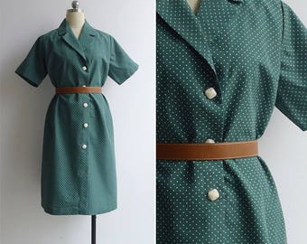 Vintage 70's Kitschy Green Polka Dot Shirt Dress XL or XXL