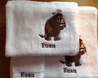 Gruffalo Personalised Embroidered Towels Free Name