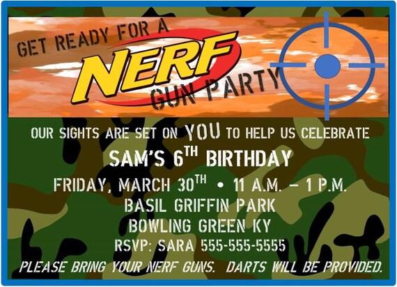 Nerf Birthday Invitation, Nerf Gun Party, dart gun bday invite, camo,  camoflauge, nerf party, digital invitation, printable invitation