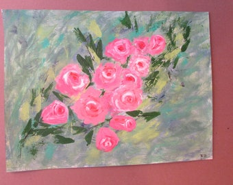 Pink roses mix media painting