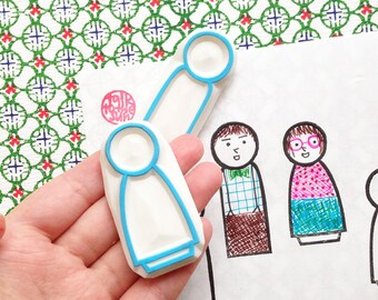 wood doll rubber stamps | boy girl | dad mom | groom bride | wedding stationery | diy holiday gift | set of 2 | hand carved by talktothesun