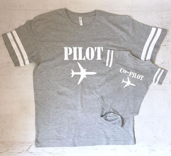 Father and Son Pilot Co-pilot Commercial Jet set Aviator Family Football Style Shirts