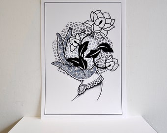 A3 White Mudra Hand with Lotus Flower Hindu Buddhist Geometric Dotwork Pattern Tattoo Design Art Print Poster