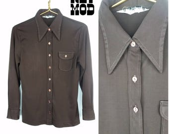 Cool Basic Vintage 70s Chocolate Brown Pointy Collar Button Down Long Sleeve Shirt