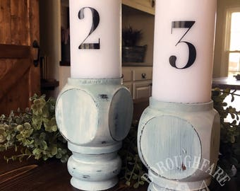 Vintage Farmhouse Blue Candle Holder Pedestal, Set of 2