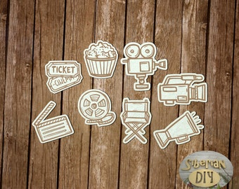 """Laser Cut Chipboard Set """" The entertainment industry. Movie. Engraving."""""""