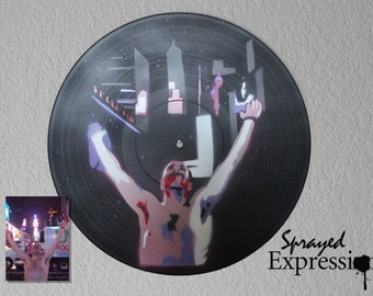 Custom Selfie Spray Paintings on Upcycled Vinyl Record - Made to Order
