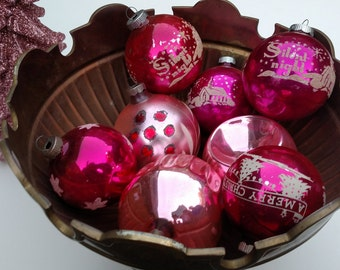 Vintage Assorted Pink Christmas Ornaments S/8