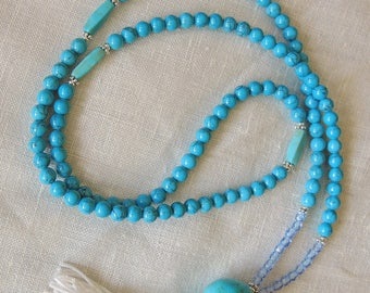 Mala Necklace 108, Turquoise mala bracelet - Buddhist Prayer Beads - Meditation Mala - Turquoise  Mala / Necklace  Handmade