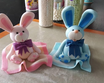 Adorable Handmade Edible Bunny Rabbit Cake or Cupcake Topper