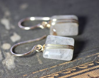 Rutilated Quartz Earrings Gold Wire Wrapped Gemstone Gold Earrings Luxe Rustic Jewelry