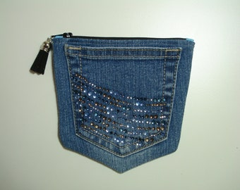 DENIM Jeans POCKETS / Denim Pouch with Bling / Denim JEANS Purse / Two Pocket Zipper Pouch / Double Compartment Lined Purse / Upcycled Jeans