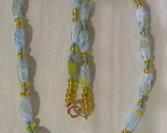 Item 44- Blue & Yellow Glass Beaded Necklace