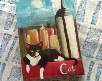 C for Cat - 8 X 10 Inch Handmade Original Painting on Canvas (Alphabet City Series) Tuxedo Cat in front of the Empire State Building in NYC