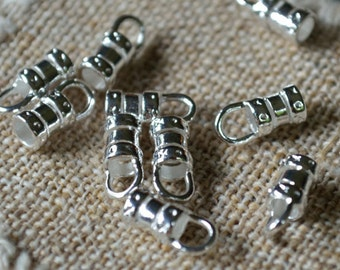 100pcs Crimp 4.5x3mm Tube With Loop Cord Ends Tip Silver-Plated Brass For 1.5mm Cord