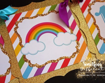 Rainbow Banner with Gold Glitter Accents/ Birthday Banner / Rainbow Banner / Shower Banner / Gender Reveal / Rainbow Baby