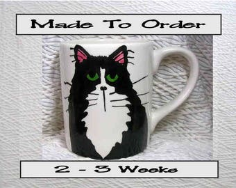 Tuxedo Cat Mug Original Handmade With Paws On Back by Gracie